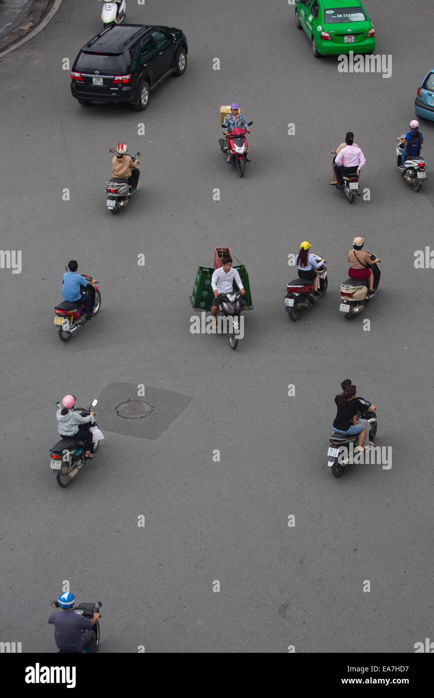 Chaotic Traffic in Hanoi, Vietnam - Stock Image