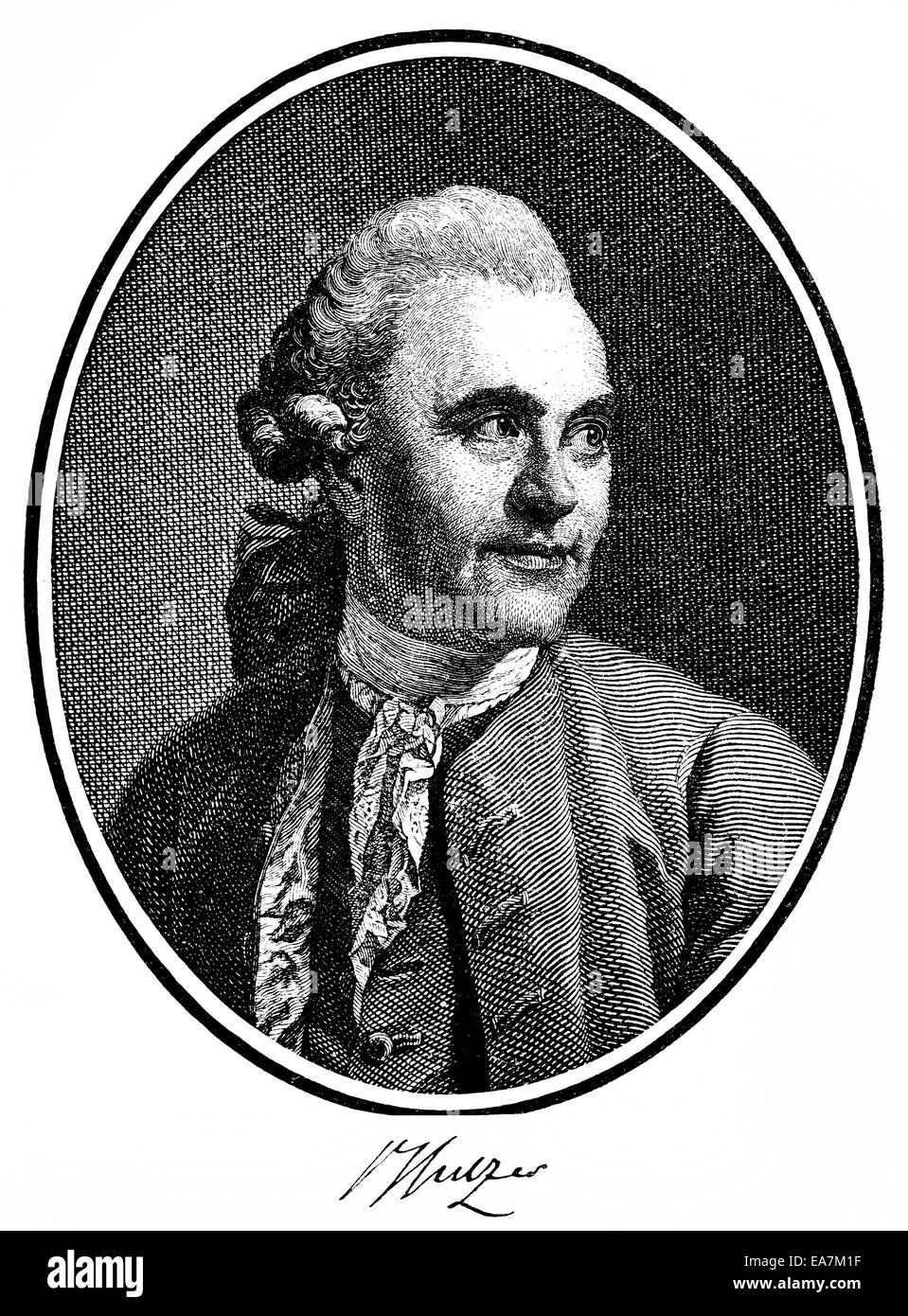 Johann Georg Sulzer, 1720-1779, a Swiss theologian and philosopher of the Enlightenment, Portait von Johann Georg - Stock Image