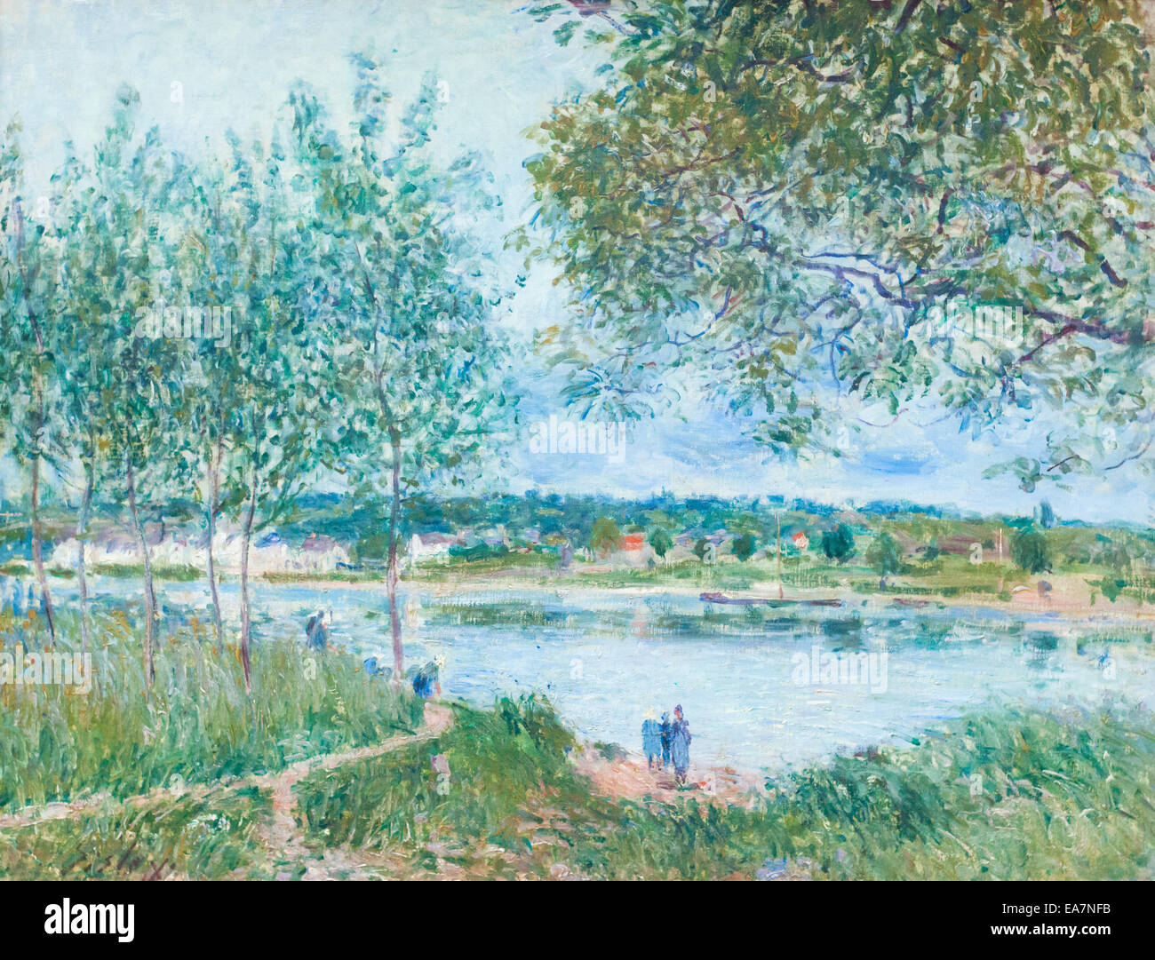 The path to the old ferry at By, Alfred Sisley - Stock Image