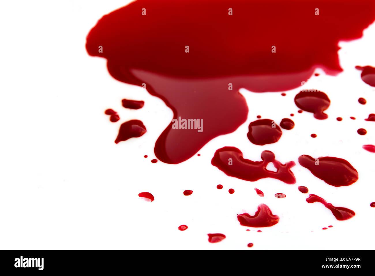 Blood stains (puddle) isolated on white background close up, horizontal - Stock Image