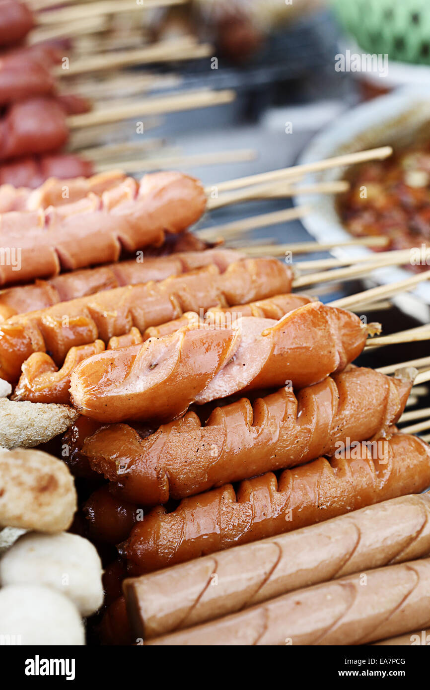 thai sausage on street food market, thailand - Stock Image
