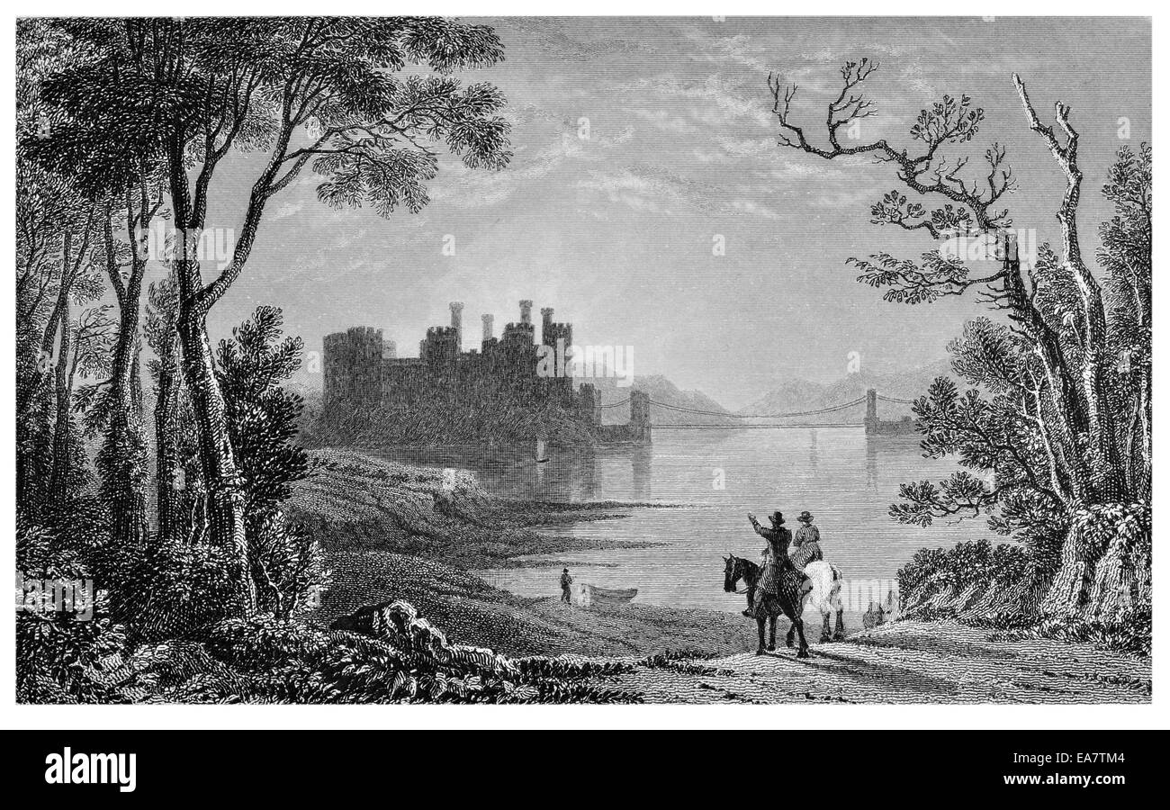 Conway Castle Castell Conwy medieval fortification river Conwy north coast of Wales circa 1830 - Stock Image