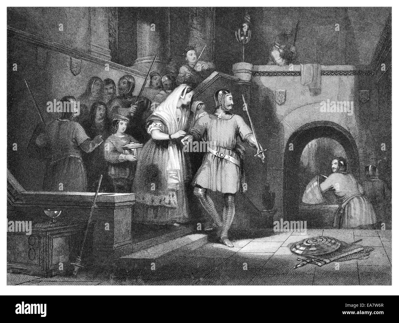 Rescue of the countess de Burgh from Montgomery Castle Powys, Mid Wales, Stock Photo