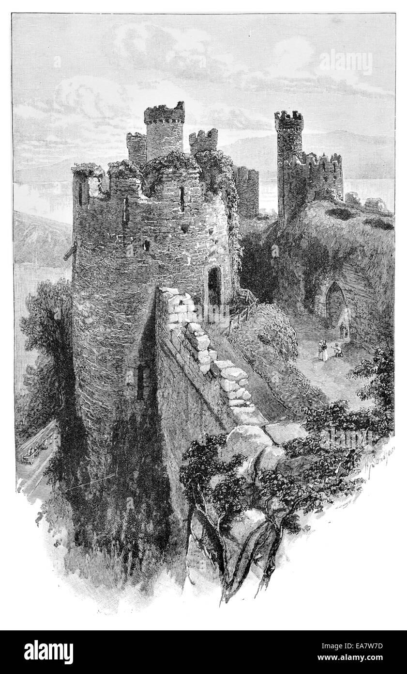 Conway castle Gwynedd North Wales UK United Kingdom GB Great Britain EU European Union Europe - Stock Image
