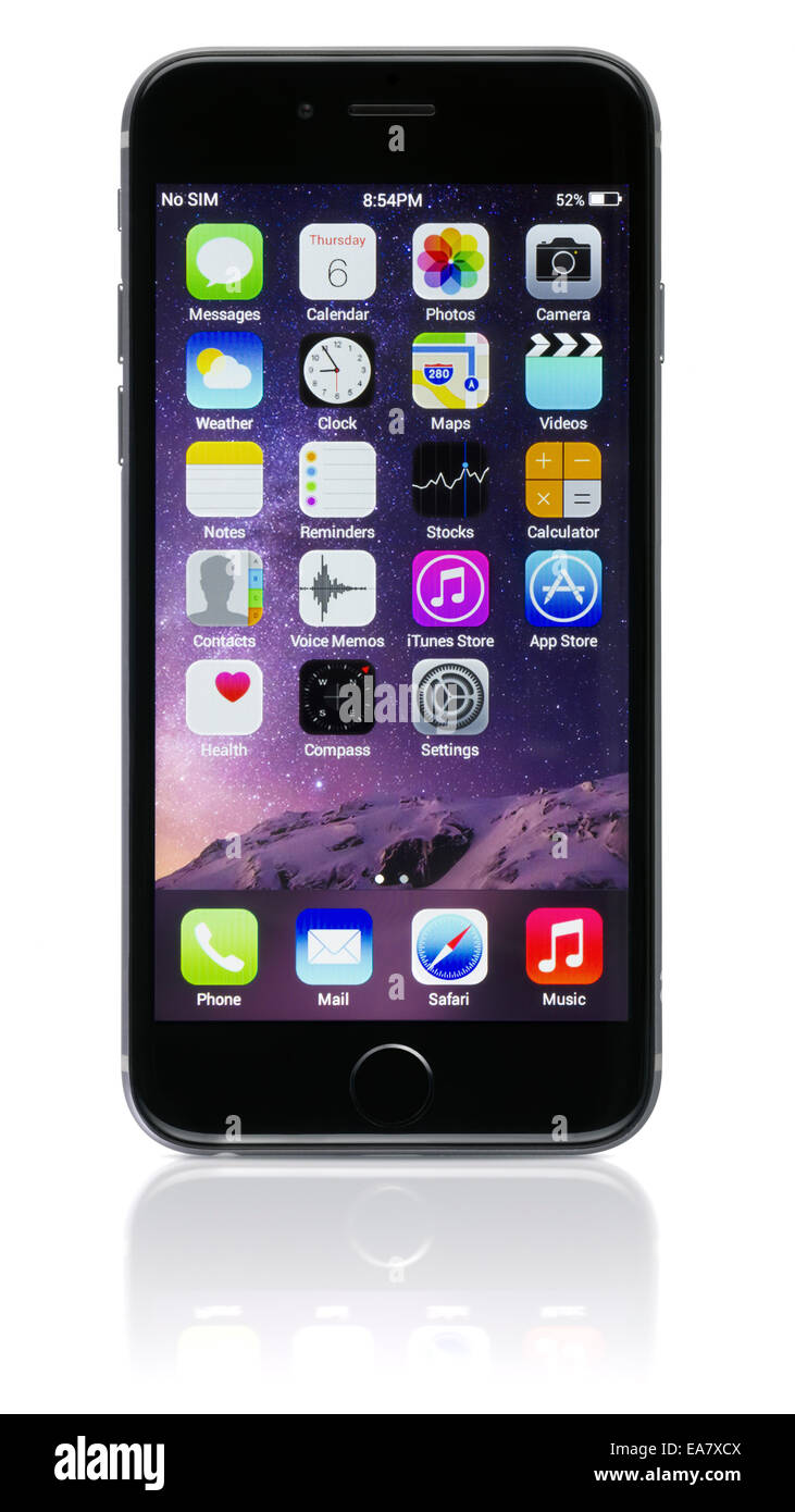 Apple Space Gray iPhone 6 showing the home screen with iOS 8. - Stock Image