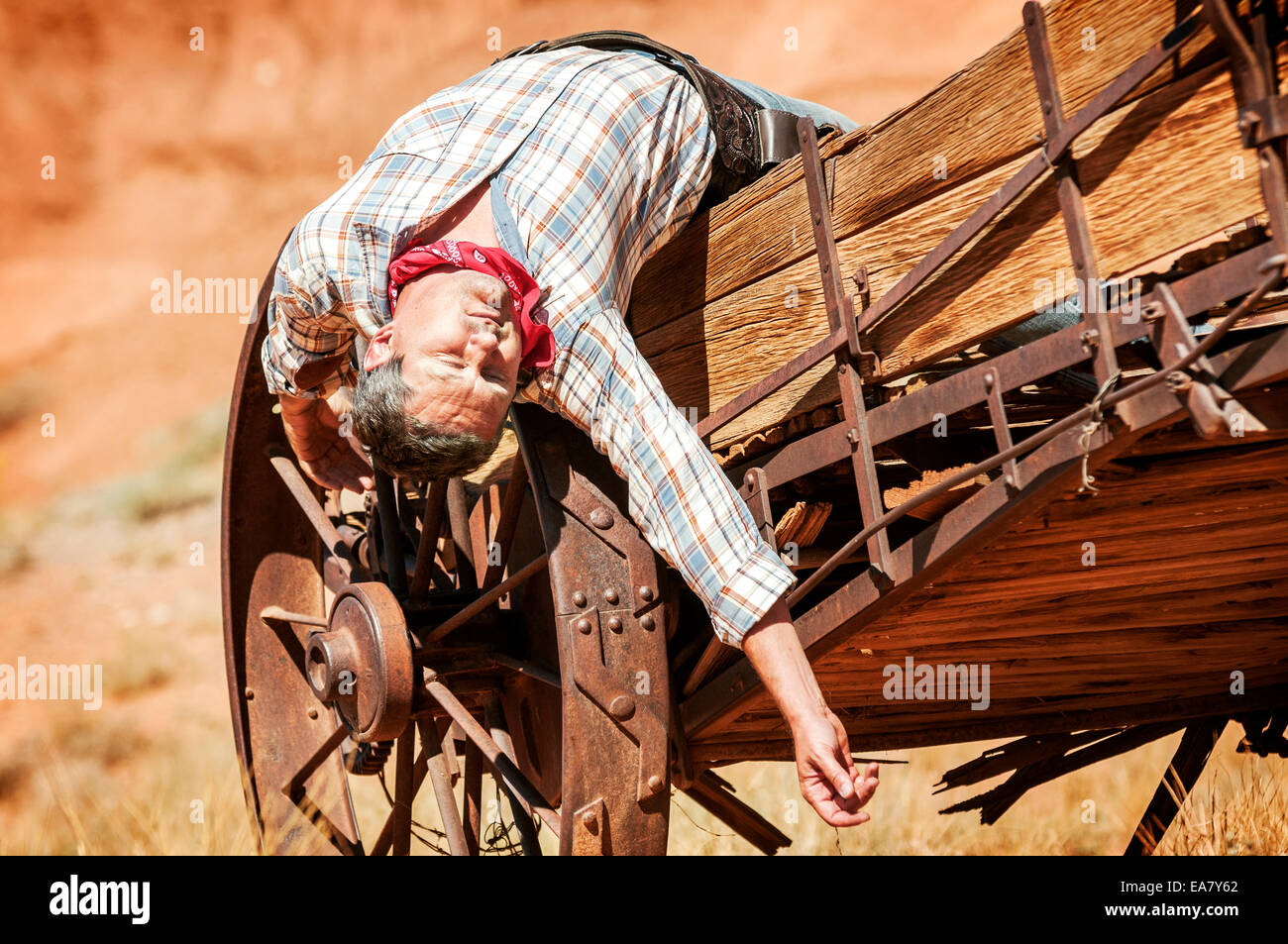 SOUT WEST - A cowboy takes time to rest and reflect. - Stock Image