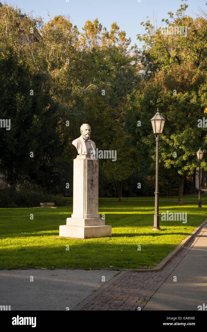 Bust of August Senoa, Josip Juraj Strossmayer square, Zagreb, Croatia Stock Photo