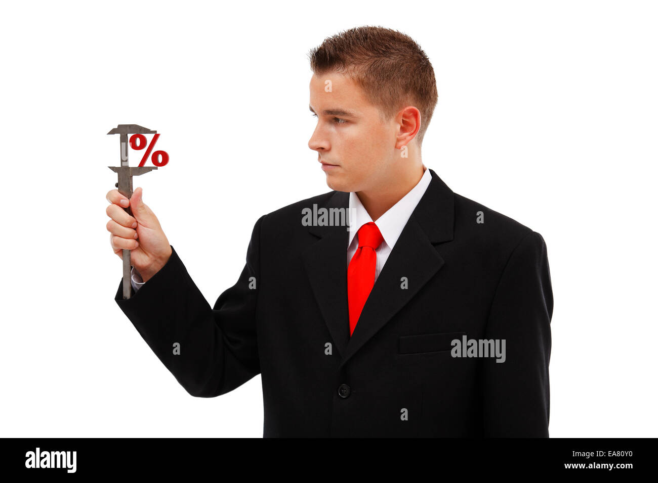 Business man measuring big or small percent with caliper - Stock Image