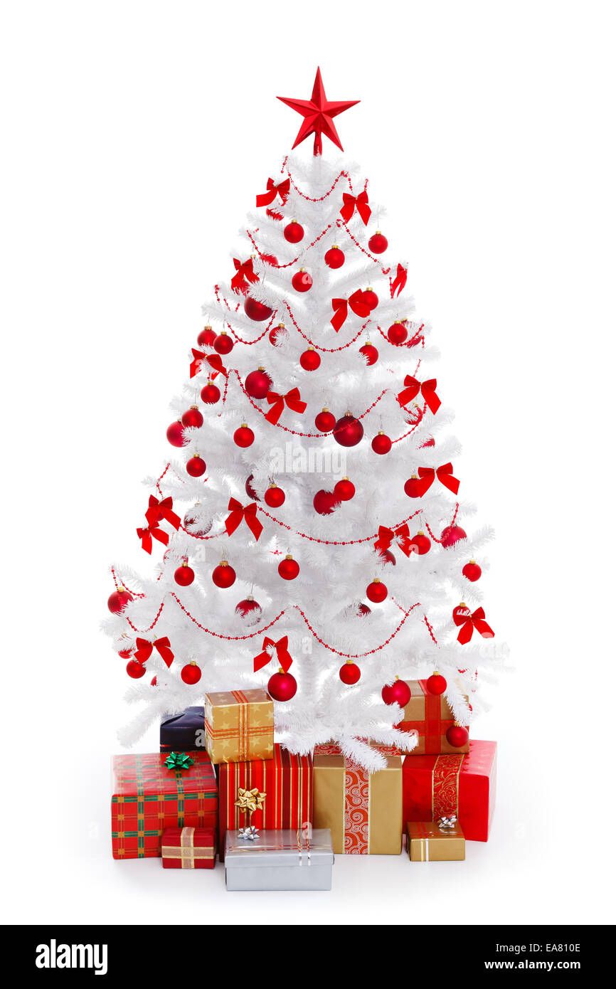 White Christmas tree with presents and red decoration, isolated on ...