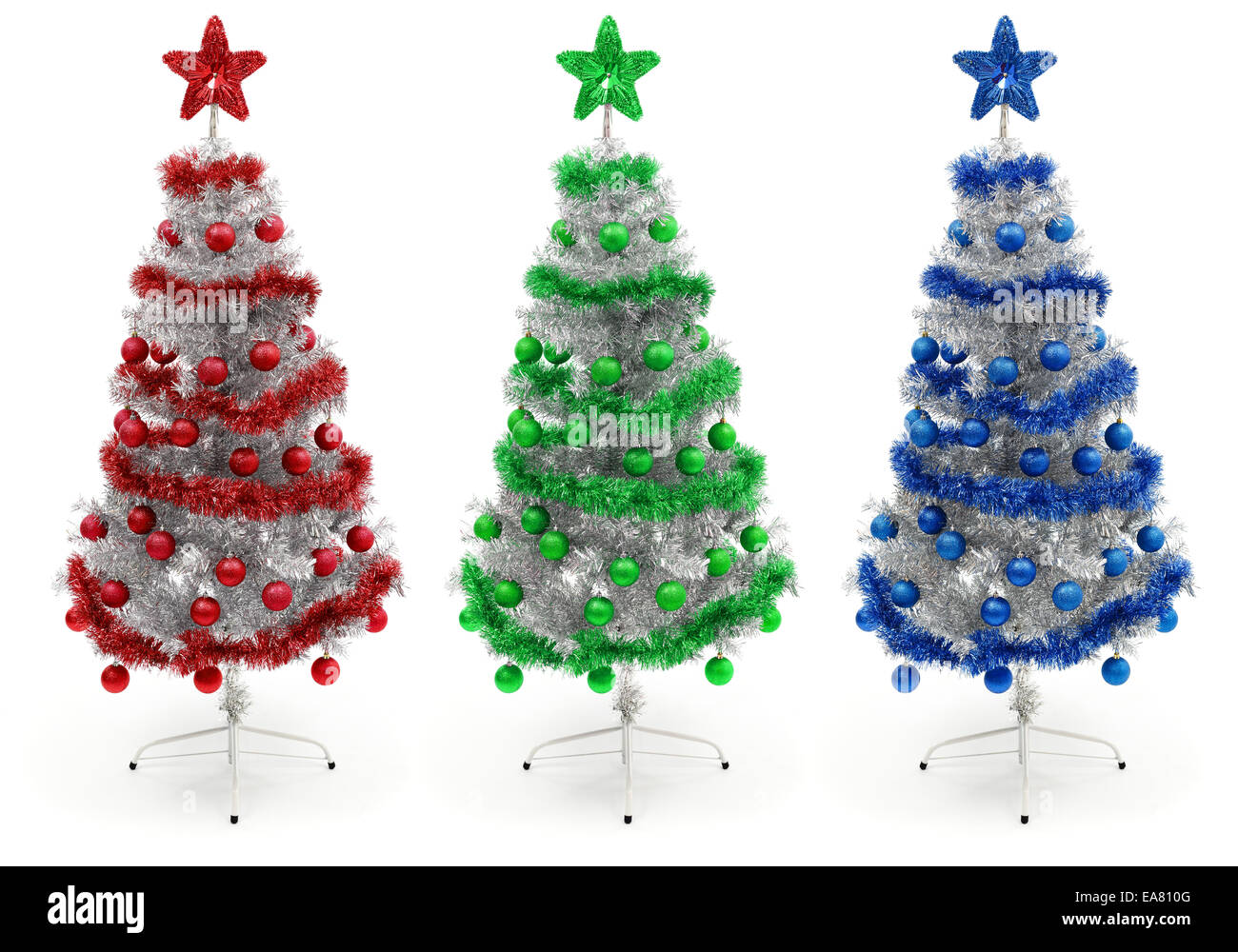 Red Green And Blue Decorated Silver Christmas Tree Stock Photo Alamy