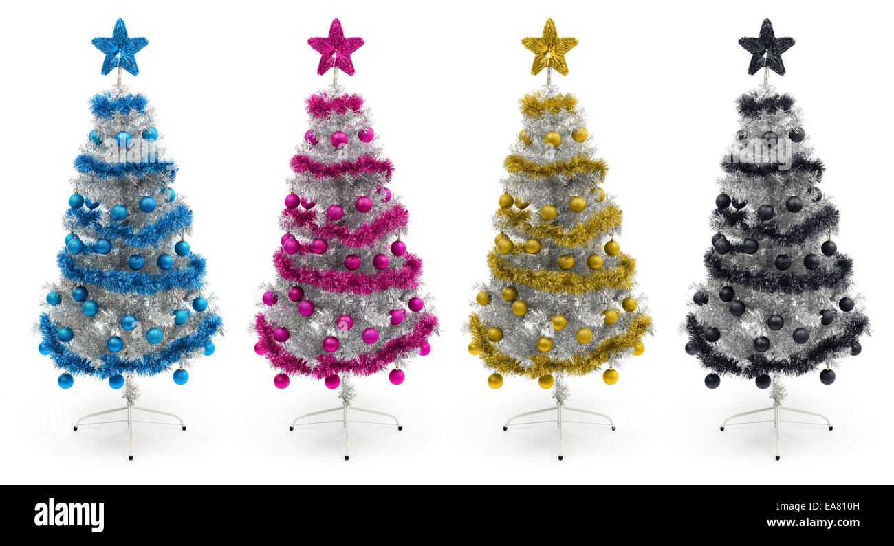 Decorated silver Christmas trees in cyan, magenta, yellow colors Stock Photo