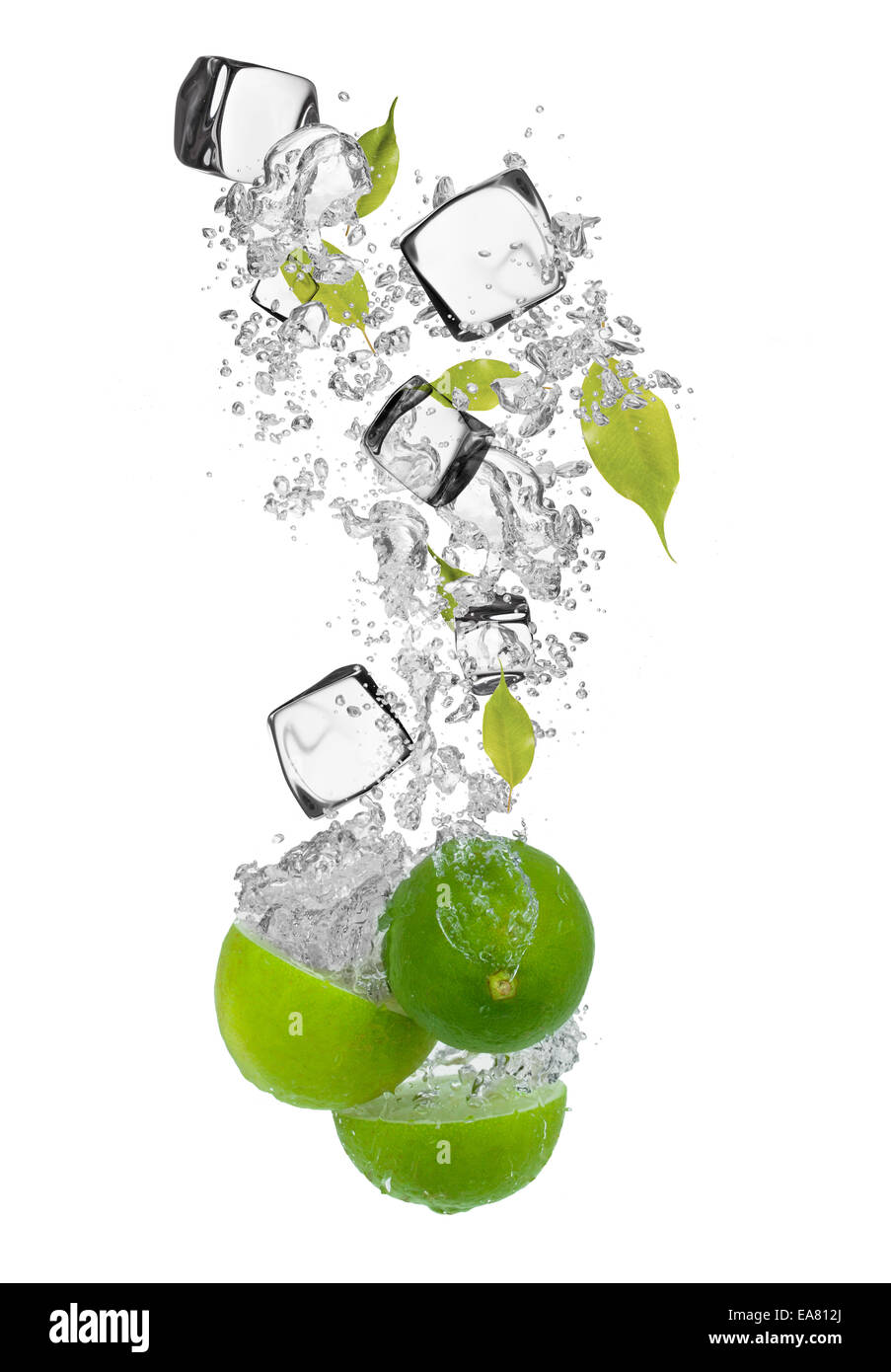 Falling pieces of limes in water splash and ice cubes, isolated on white background Stock Photo
