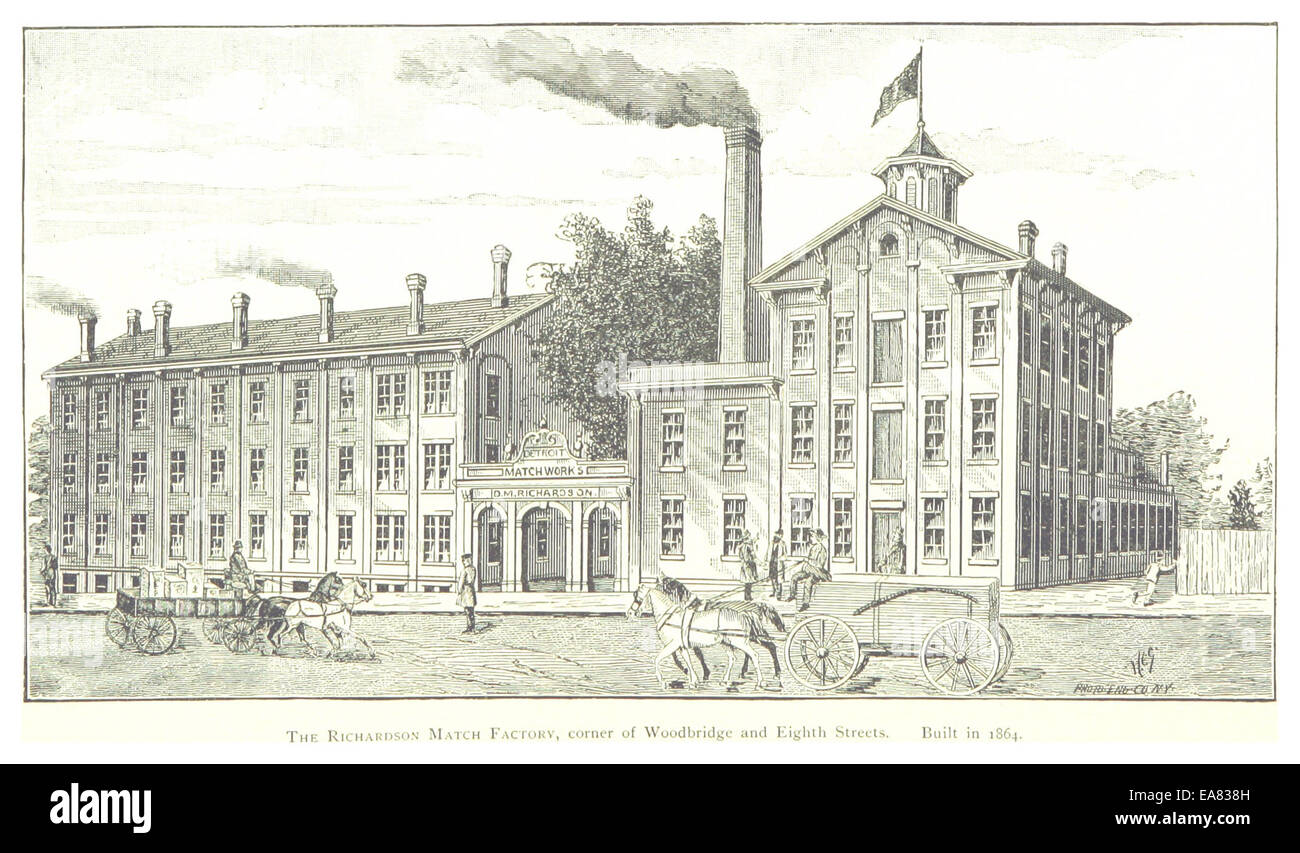 FARMER(1884) Detroit, p882 THE RICHARDSON MATCH FACTORY, CORNER OF WOODBRIDGE AND EIGHTH STREETS. BUILT IN 1864 - Stock Image