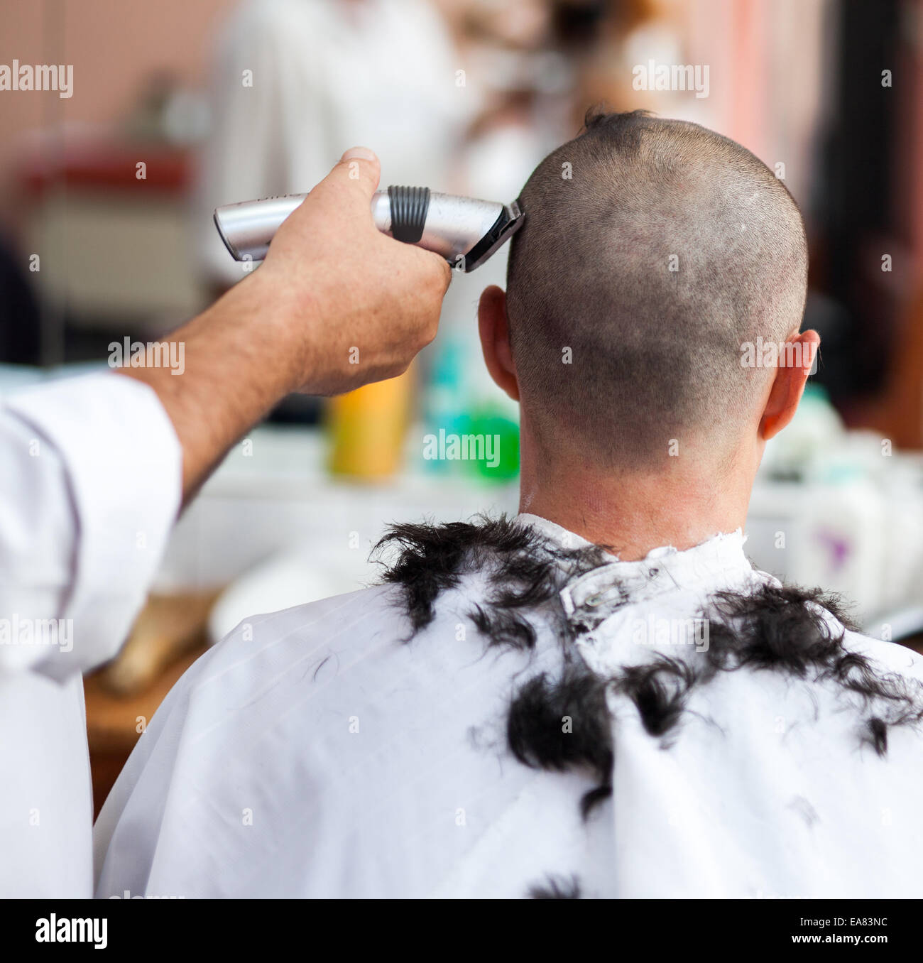 Caucasian Man In A Barber Shop Getting A Very Short Haircut Stock Photo Alamy