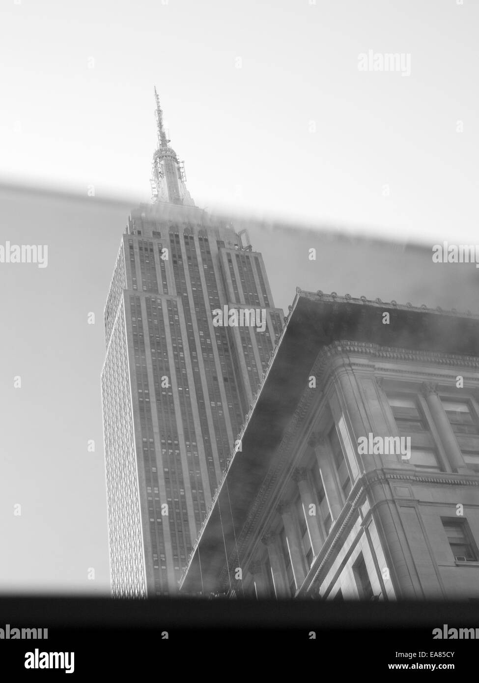 Empire State Building seen through car window - Stock Image