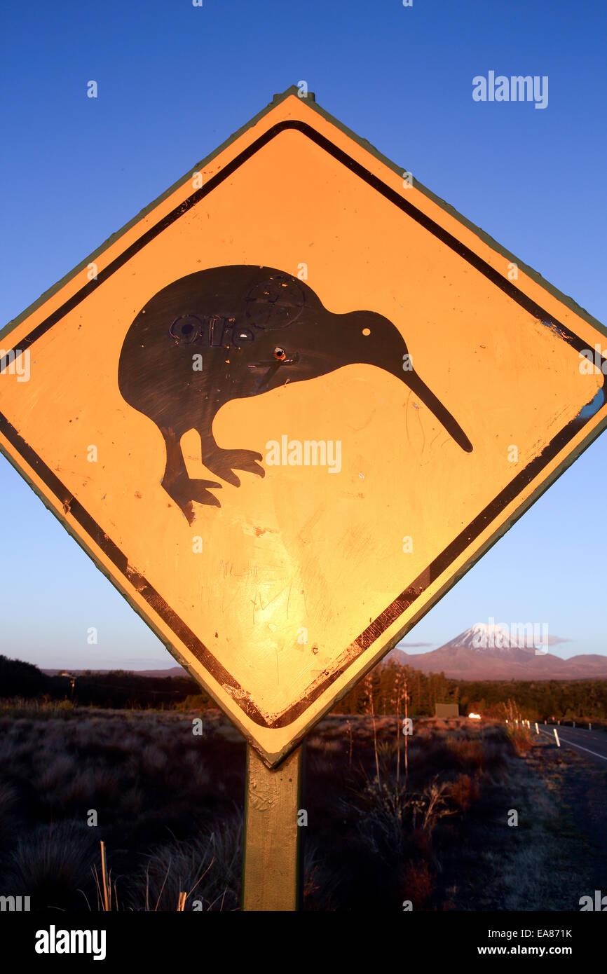 Kiwi road Kiwi road sign and Mount Ngauruhoe - Stock Image
