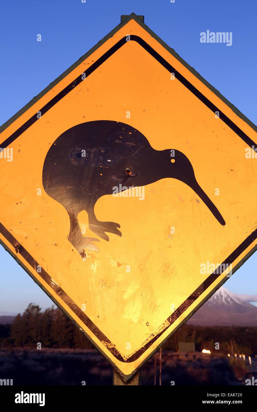 Kiwi road sign - Stock Image