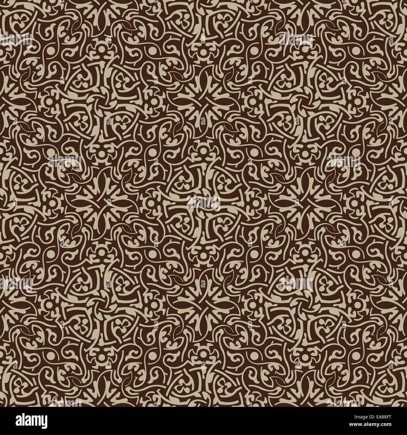 Brown floral seamless wallpaper pattern vector illustration - Stock Image