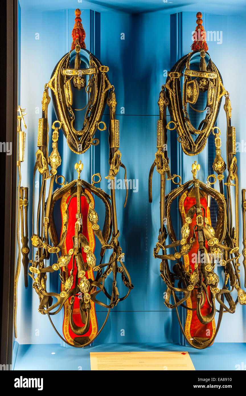 Italy Piedmont Venaria Reale 8th November 2014 - Royal Stables - Exhibition 'The Bucentaur and the Royal Carriages' - Stock Image