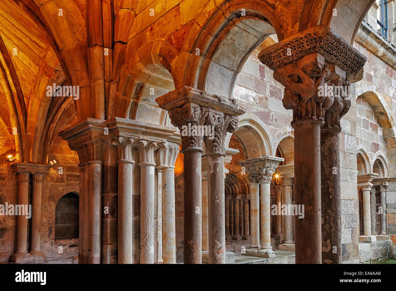 Santa Maria la Real Monastery. CLoister. Aguilar de Campoo. Palencia, Province of Castilla y León.Spain. - Stock Image