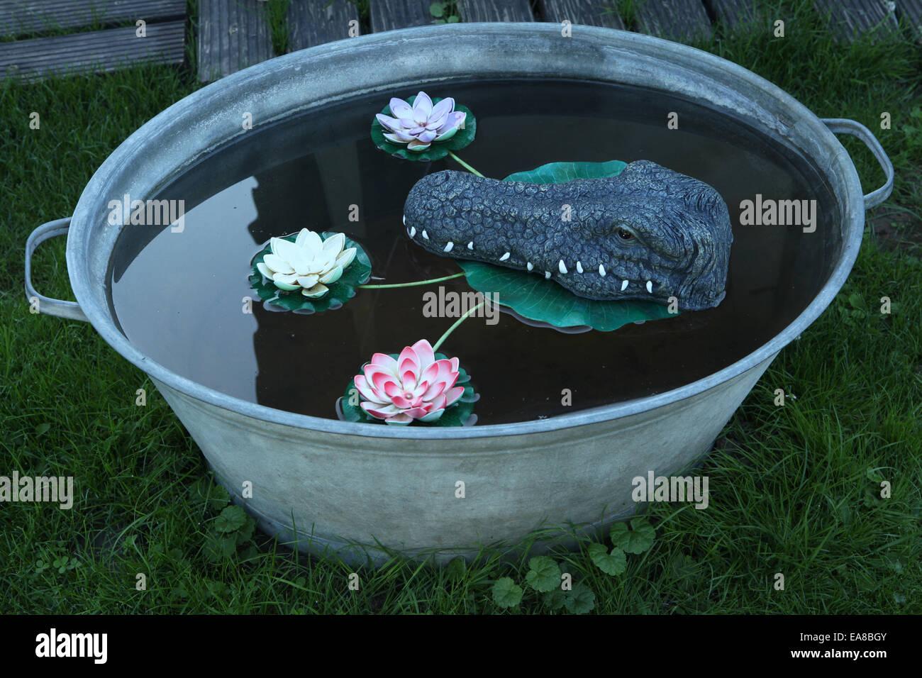 Plastic floating head of a crocodile in a wash tub. Kitsch example in Düsseldorf, North Rhine-Westphalia, Germany. - Stock Image