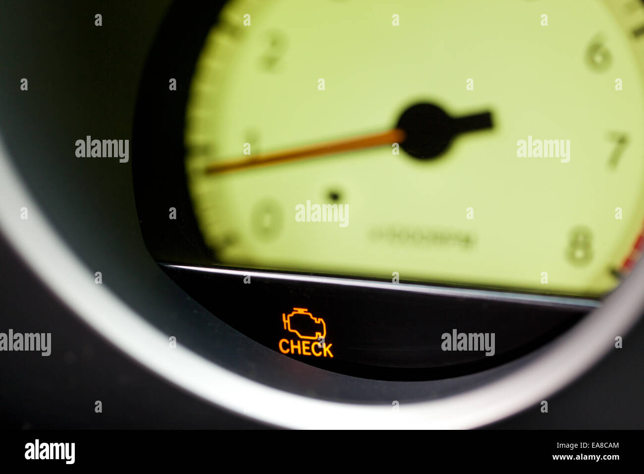 Check engine warning light - USA - Stock Image