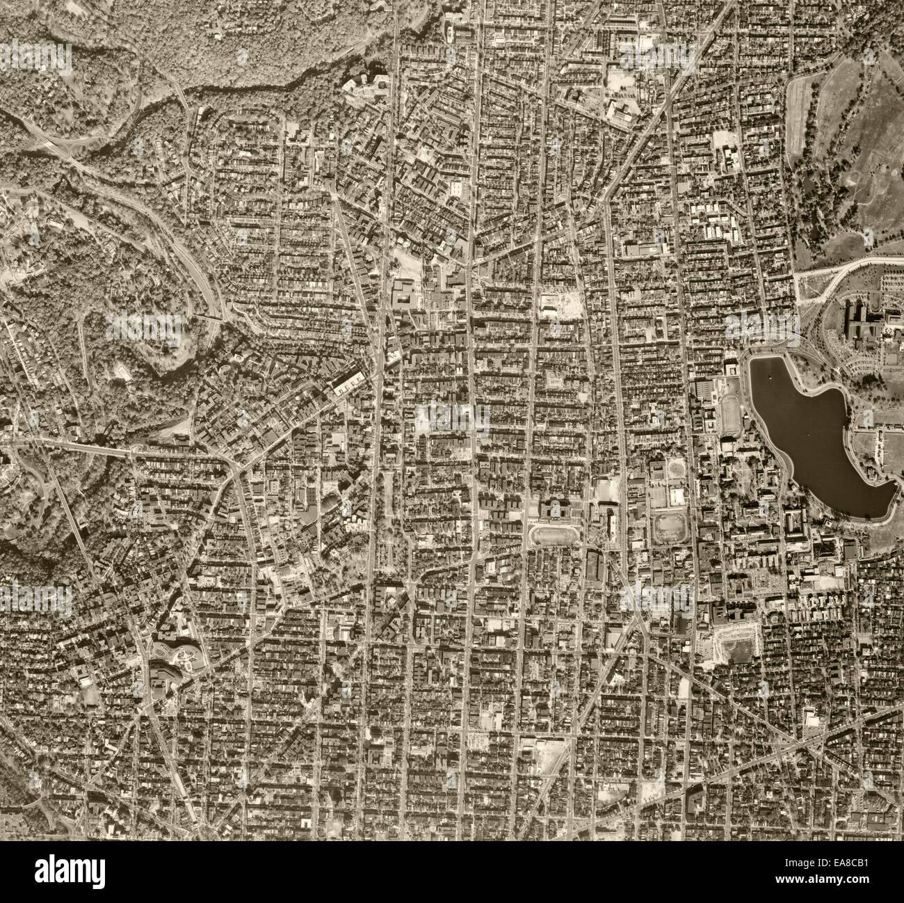 historical aerial photograph of Washington, DC, 1968 - Stock Image