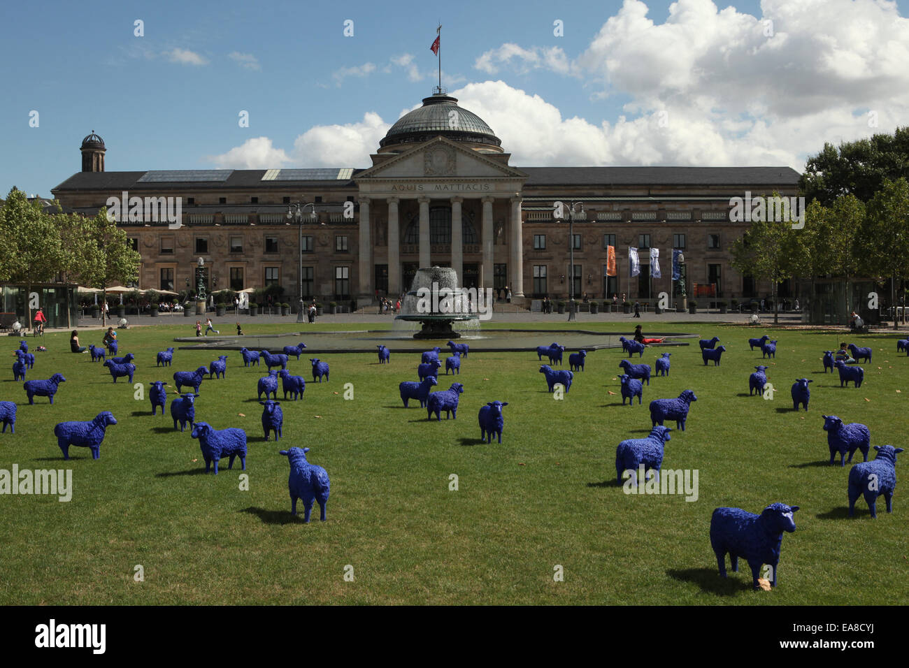 The Blue Sheep (Die Blauschäferei) installed at the Bowling Green in front of the Kurhaus in Wiesbaden, Hesse, - Stock Image