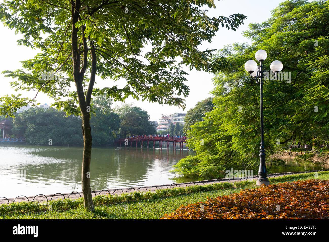Hoan Kiem Lake in Hanoi - Stock Image