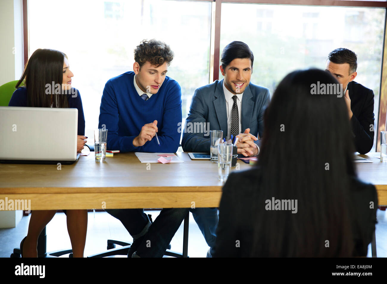 business, career and office concept - smiling businesswoman at job interview in office - Stock Image