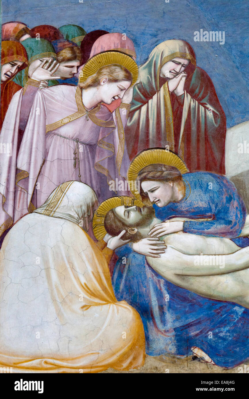 Lamentation of Christ by Giotto di Bondone, The Scrovegni Chapel - Cappella degli Scrovegni, Padua, Veneto, Italy - Stock Image
