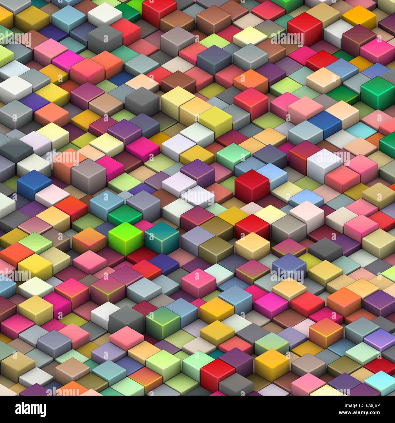 3d beveled cubes in multiple bright colors - Stock Image