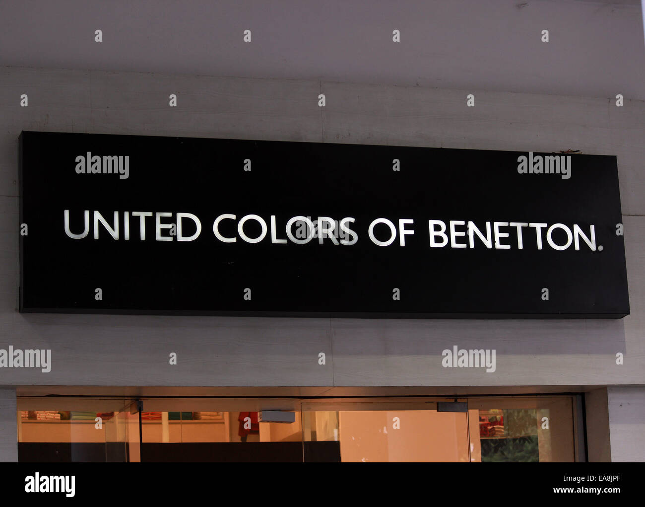 clothes, company, logo, United colors of benetton, international brand,Connaught place, New Delhi, India. - Stock Image