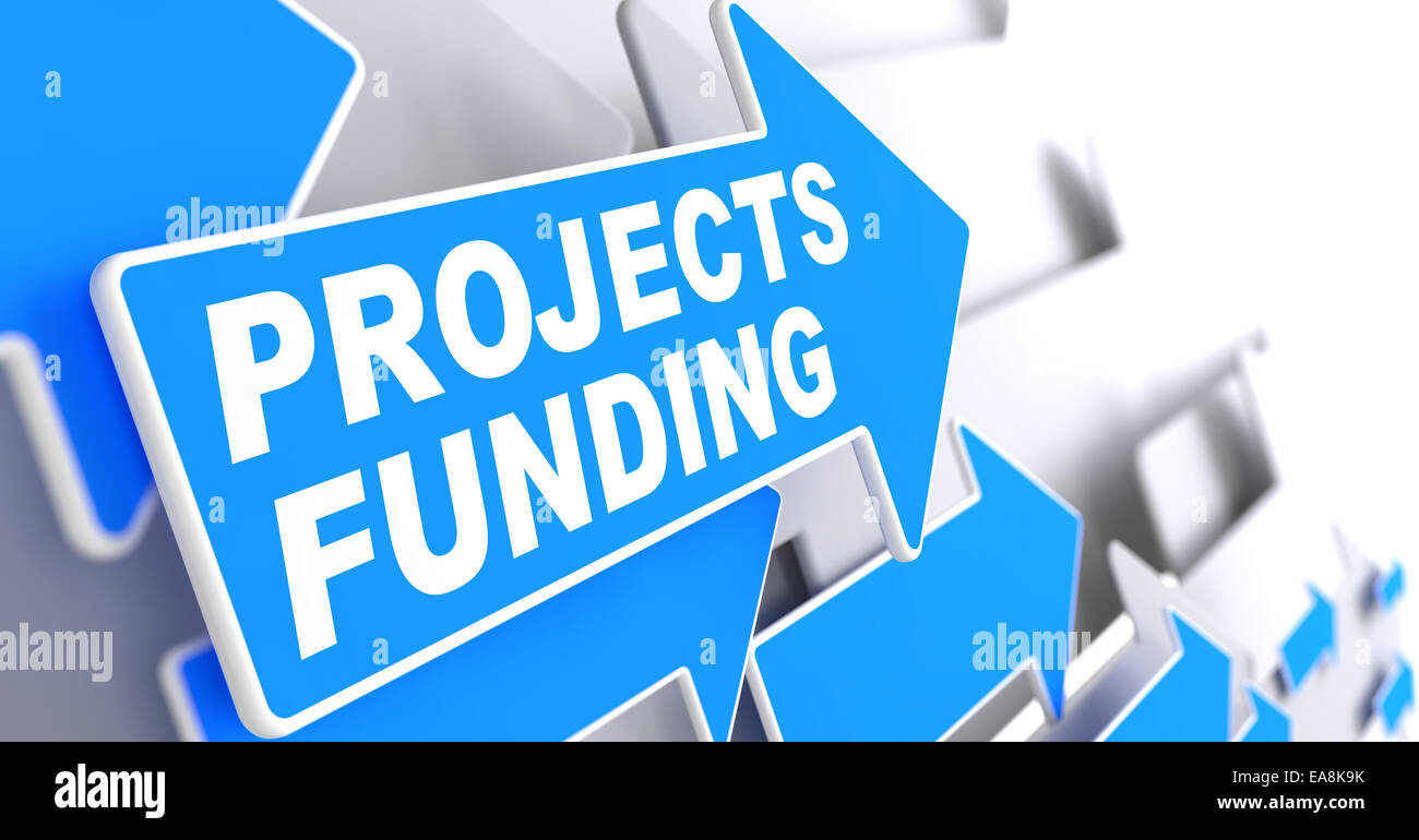 Projects Funding on Direction Sign - Blue Arrow on a Grey Background. Stock Photo