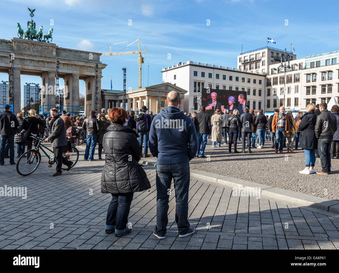 Berlin, Germany, 8th November, 2014. Berlin is celebrating 25 years since the fall of the wall and the peaceful Stock Photo