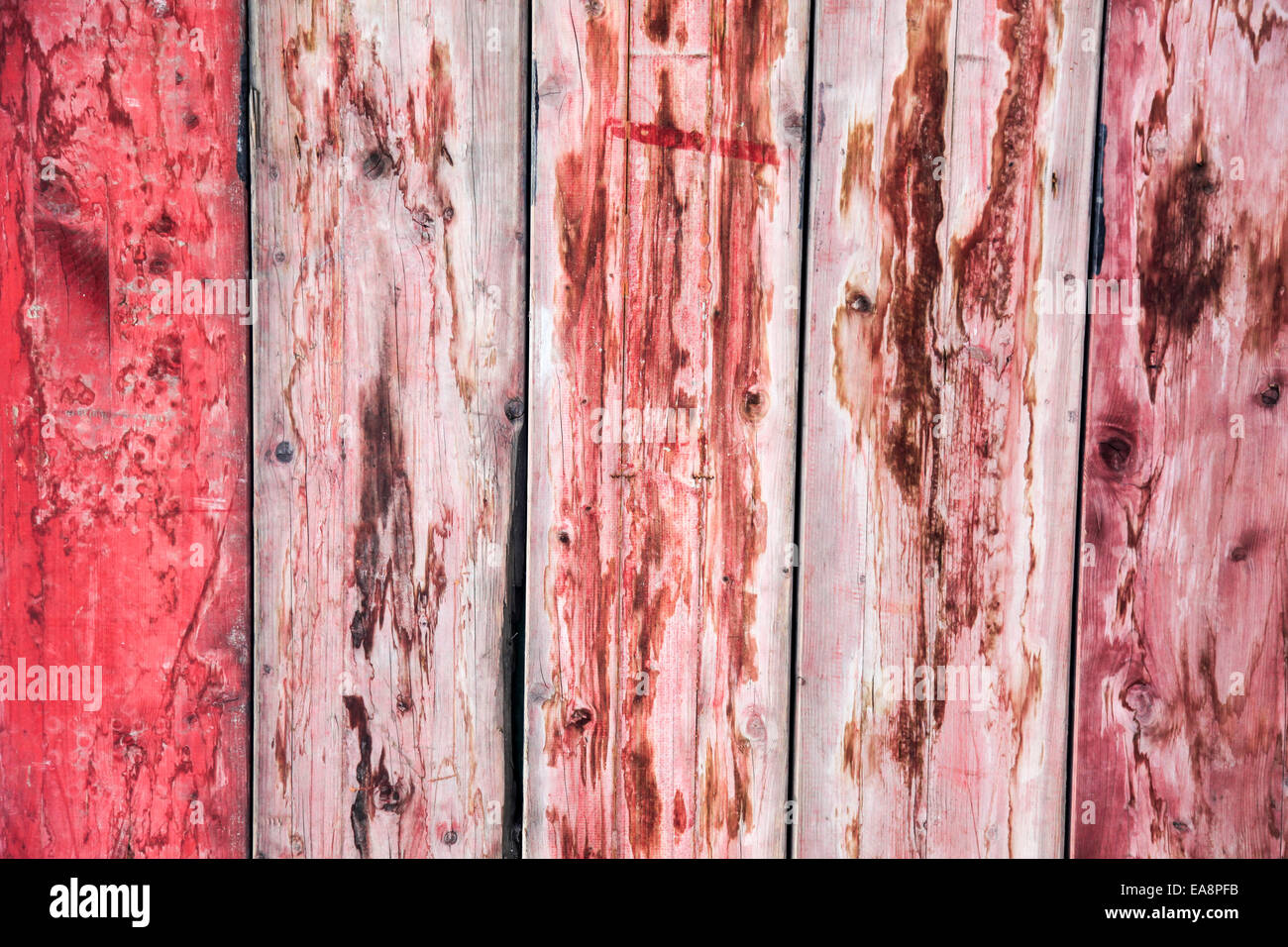 Abstract wood background with faded red paint - Stock Image