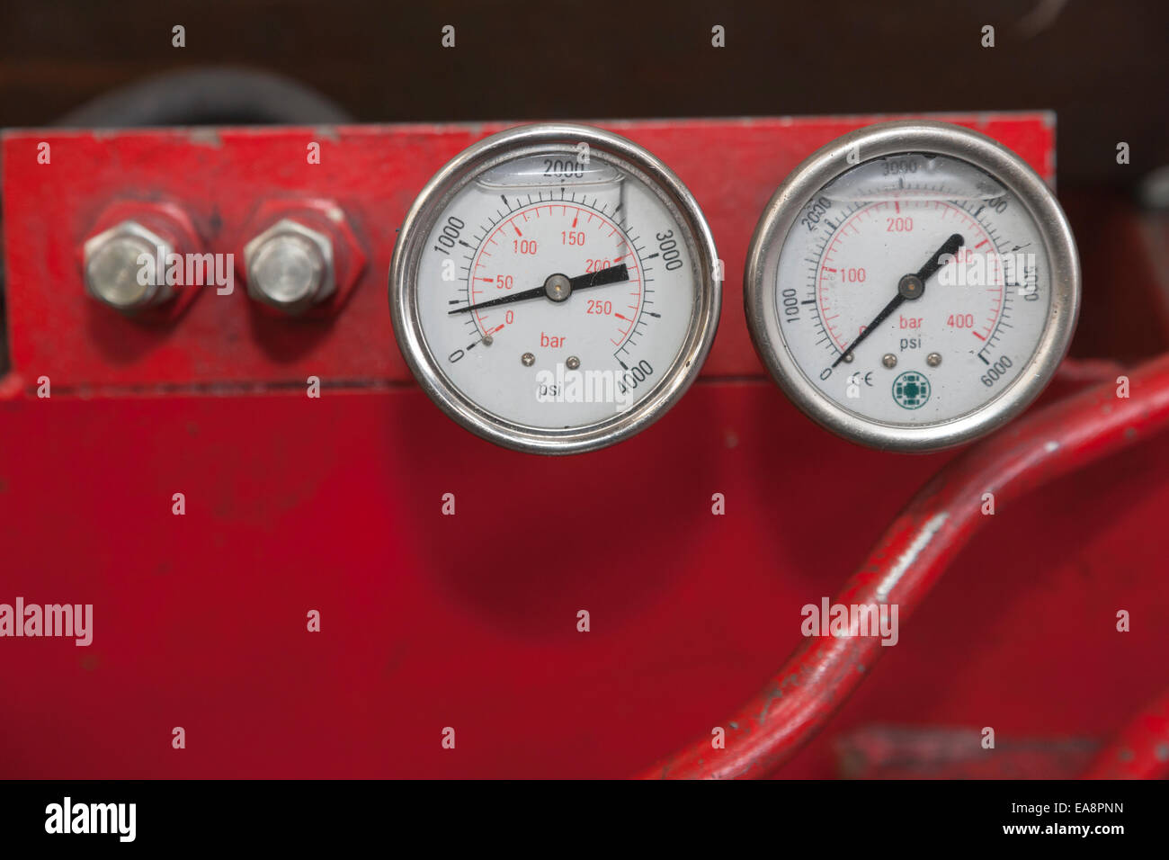 Engineering pressure gauges - Stock Image