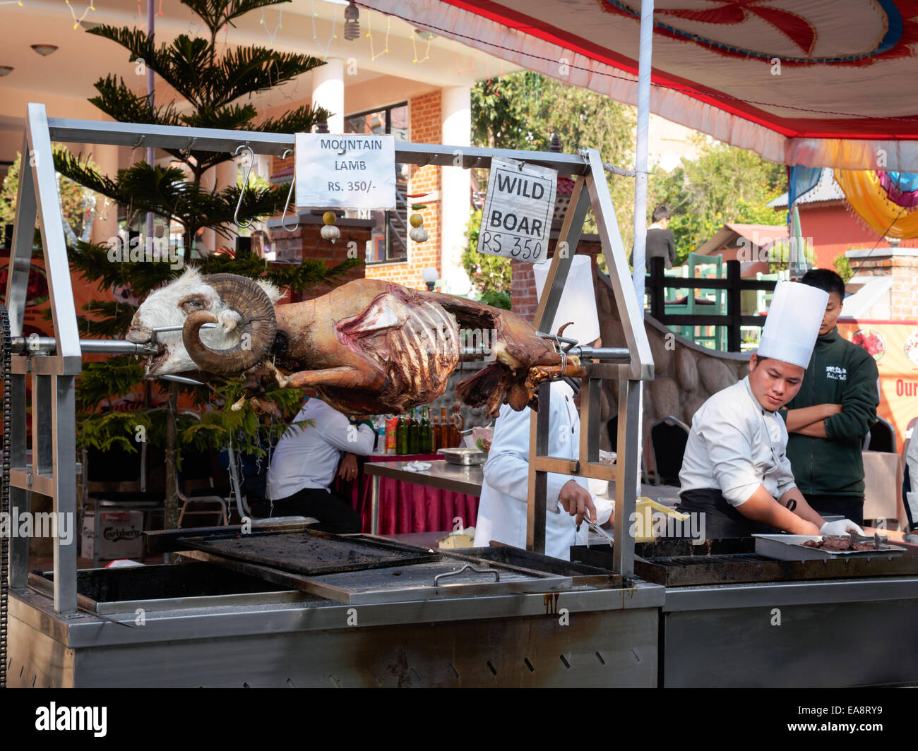 A mountain sheep roasting at the Pokhara Street Festival, Nepal - Stock Image