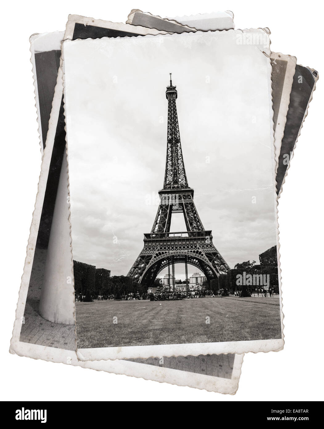 Vintage photos Eiffel Tower, famous symbol of Paris - Stock Image