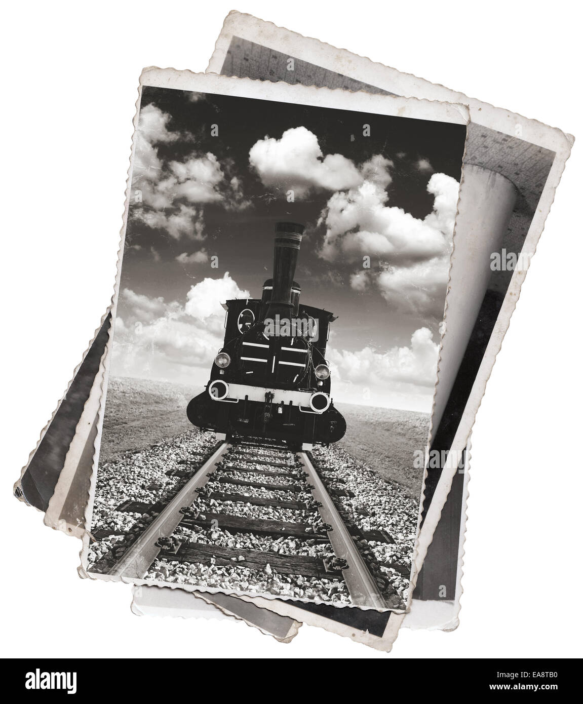 Vintage photos old steam powered locomotive on railway track - Stock Image