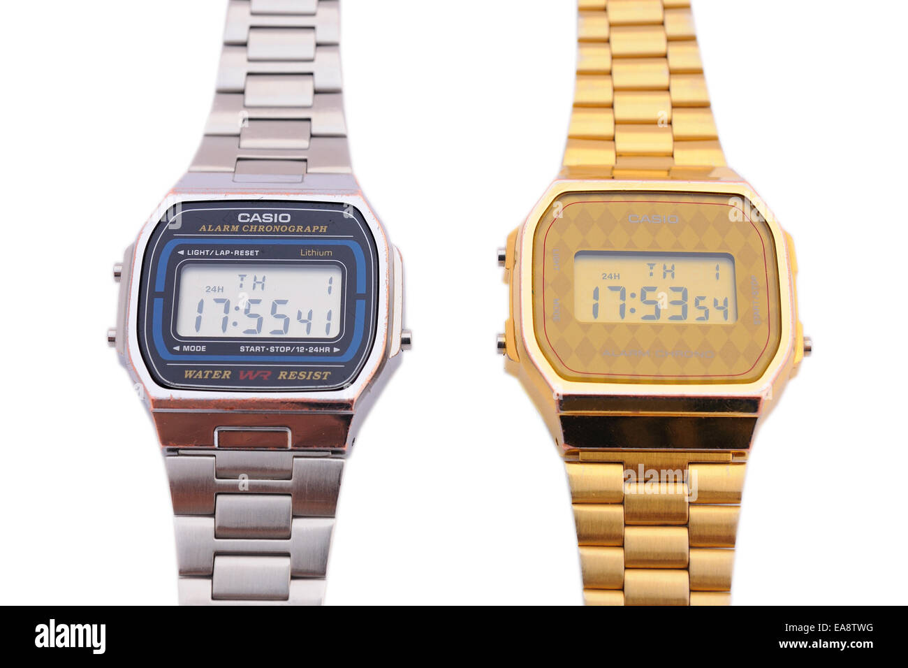 BARCELONA - JULY 12: Two Casio watches one in gold color and the other one in silver on July 12, 2013 in Barcelona, - Stock Image