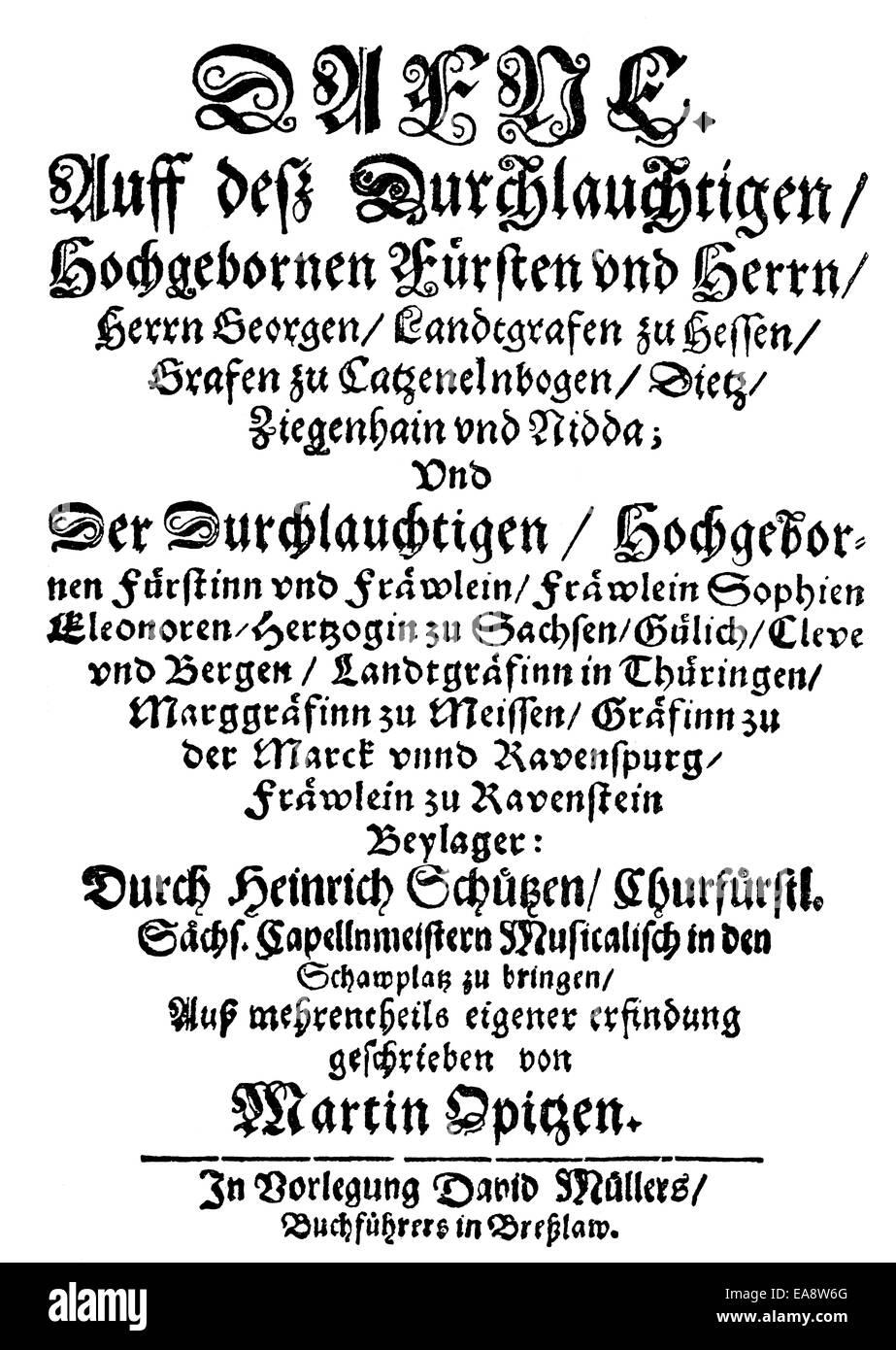 Title Of A Book By Martin Opitz Von Boberfeld 1597 1639