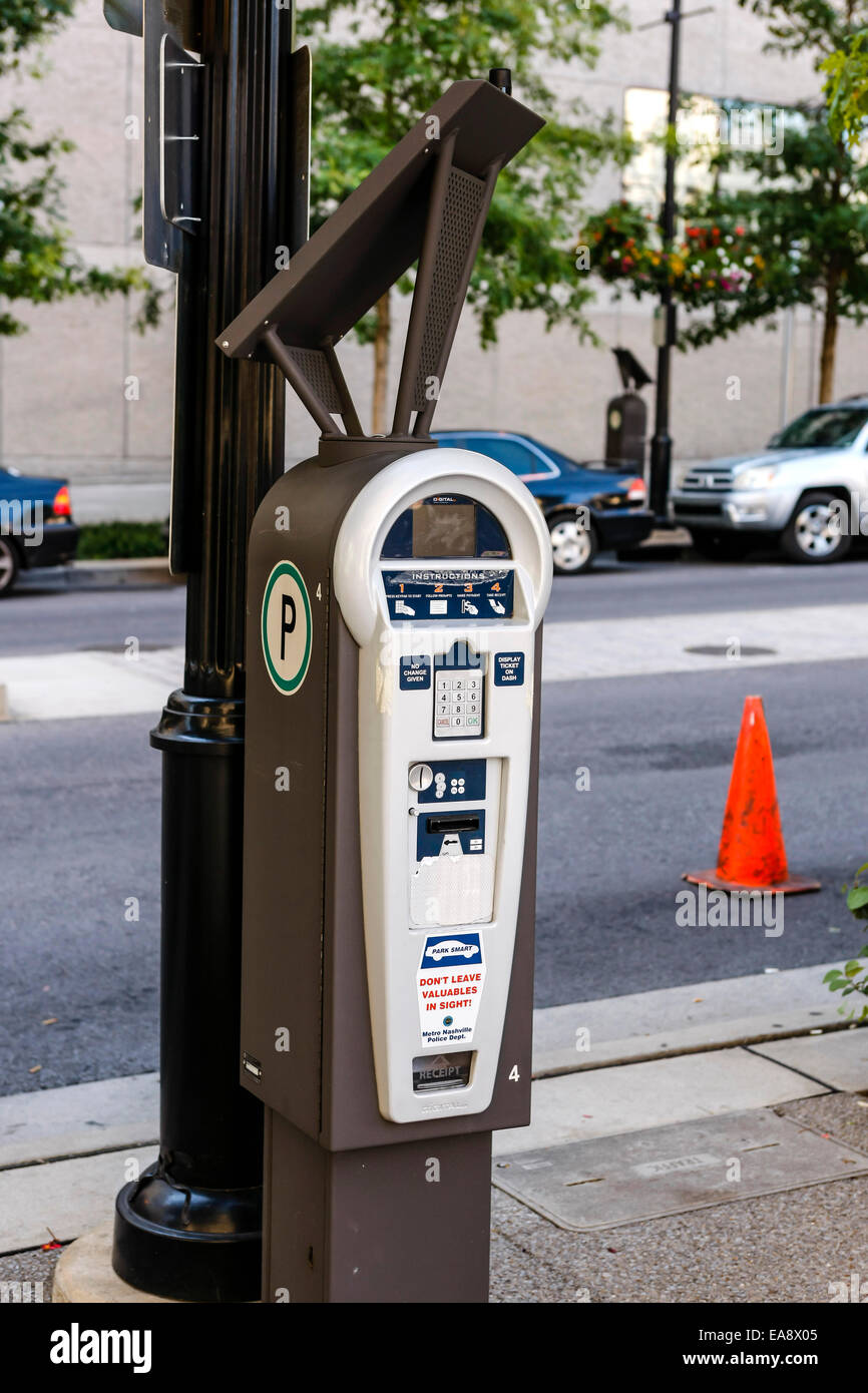 A solar-powered vehicle parking  meter in downtown Nashville Tennessee - Stock Image
