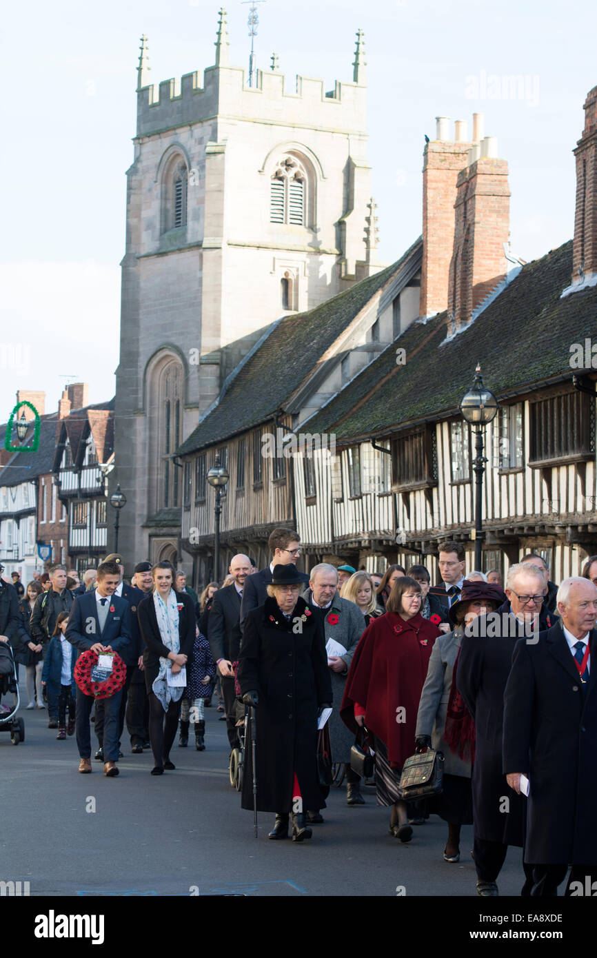 9th November 2014. Stratford-upon-Avon, Warwickshire, England, UK. The Remembrance Sunday parade passes through - Stock Image