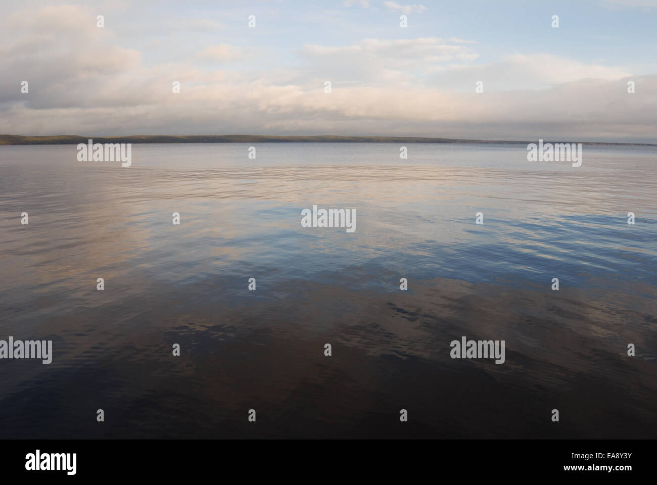 expanse of Lake Onega windless morning, Russia - Stock Image