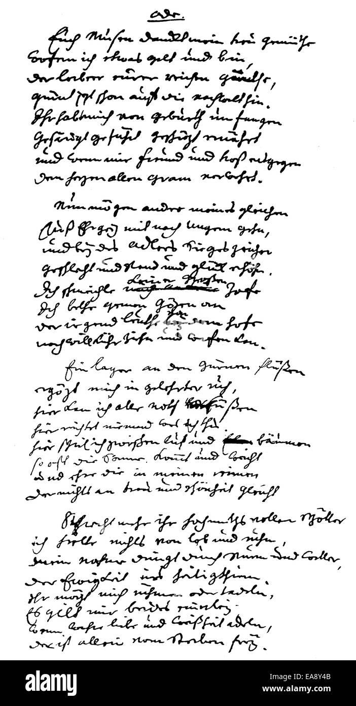 Historic manuscript, page of Johann Christian Guenther, 1695 - 1723, a German poet, Historische Handschrift, Gedicht Stock Photo