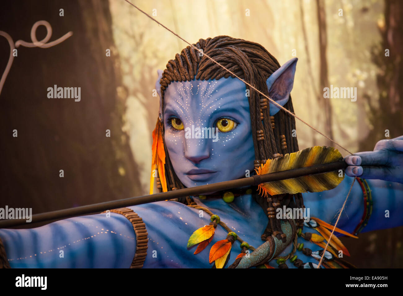 Avatar cake at Cake International at the NEC where bakers show off their wonderful cakes and compete against each - Stock Image
