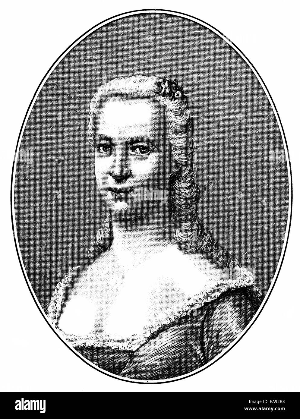 Meta or Margaretha Kloppstock, 1728 - 1758, 1. wife  of Friedrich Gottlieb Klopstock, 1724 - 1803, a German poet, - Stock Image
