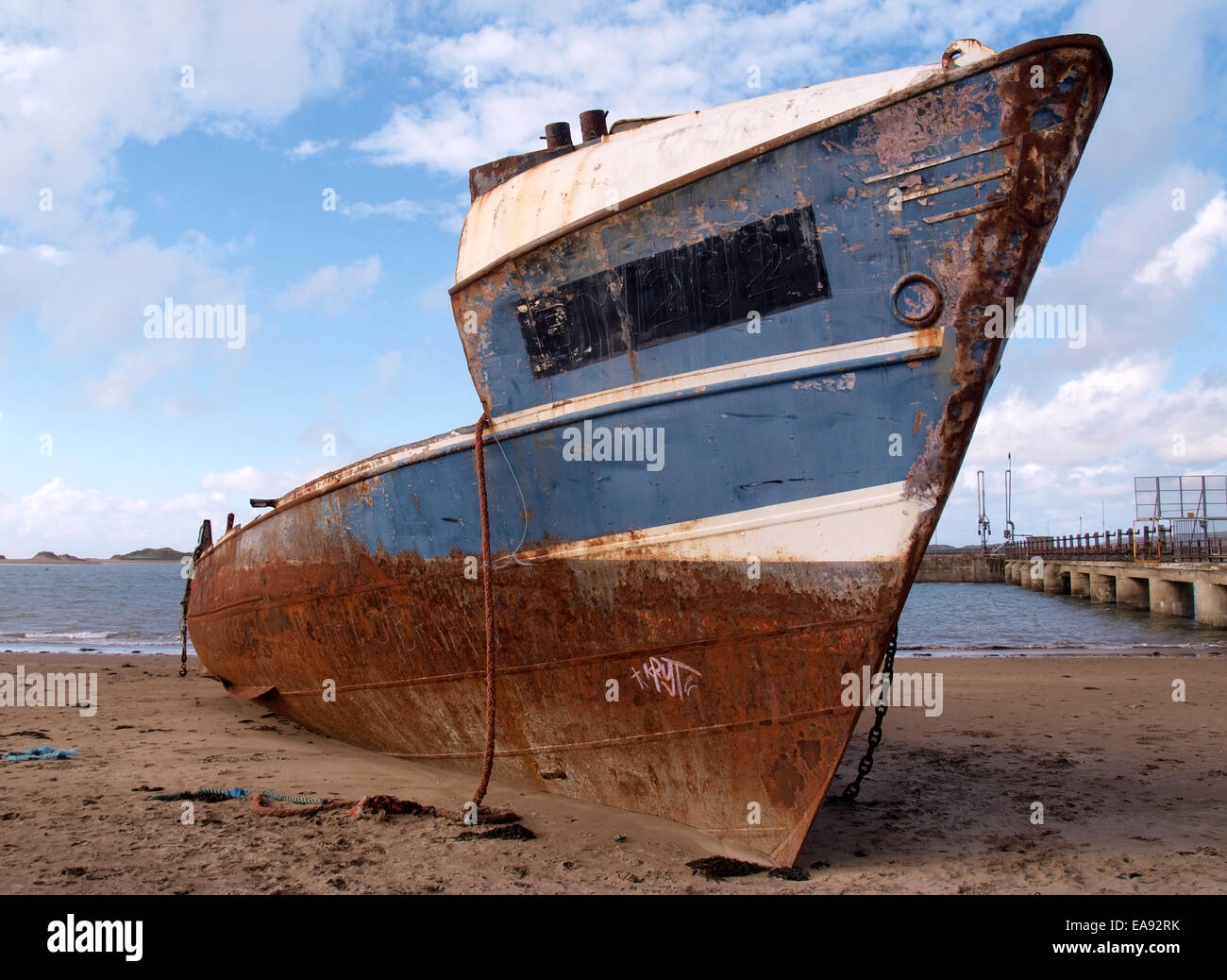 Old rusty metal ship beached at Yelland Instow Devon UK & Old rusty metal ship beached at Yelland Instow Devon UK Stock ...