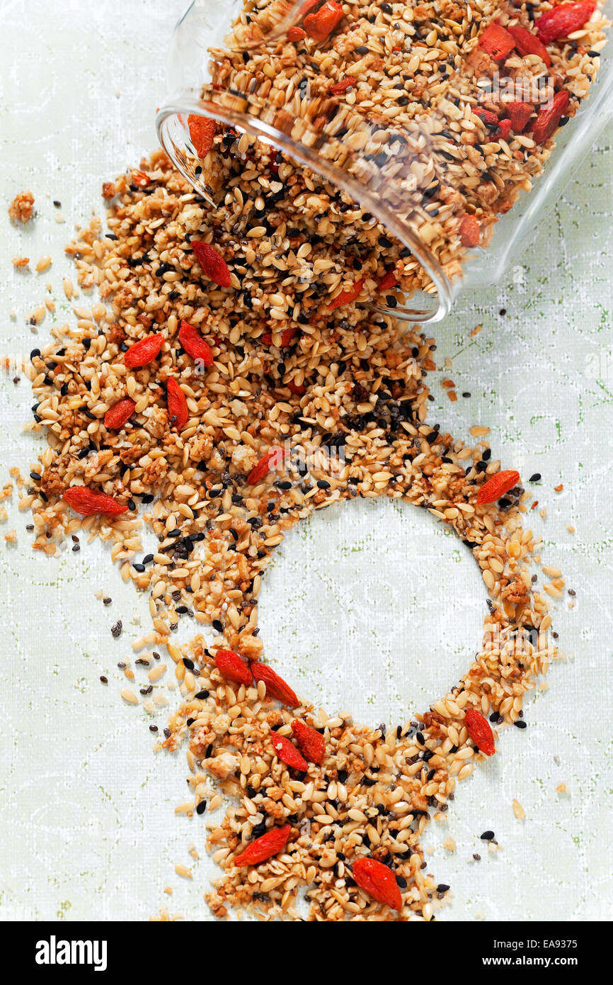 Granola with chia seeds, flax seeds, sesame seeds and goji berries - Stock Image